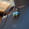 Handmade earrings with leaves pattern