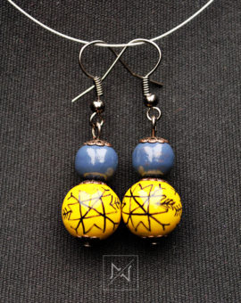 Yellow earrings with traditional folk motif